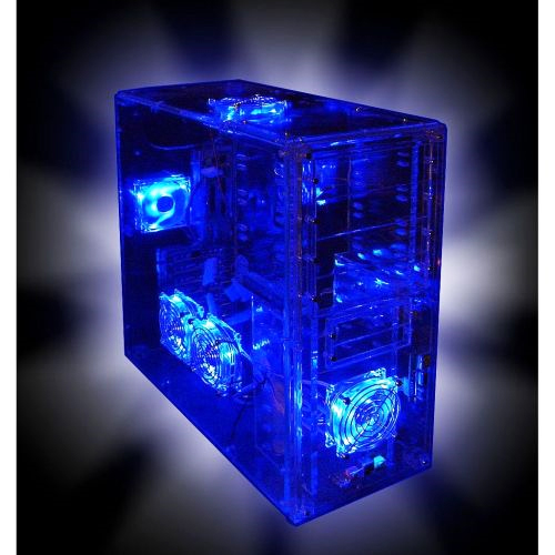 boitier pc tuning tour transparent pour ordinateur led ebay. Black Bedroom Furniture Sets. Home Design Ideas