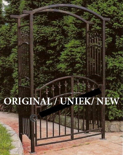 Portail portique barri re en fer forg pergola gloriette for Barriere fer forge jardin